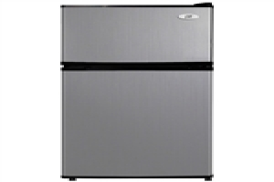 3.1 cubic foot double door stainless steel refrigerator with freeze